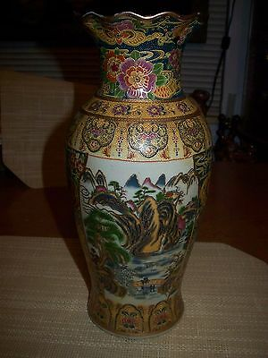 Royal Satsuma Gilded Porcelain Vase With Scenic Design & Flowers On Ruffled Top