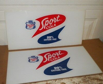 Canada Dry Sport Cola Lucite Acrylic Advertising Signs (23.5 x11 1/4 ) Lot Of 2