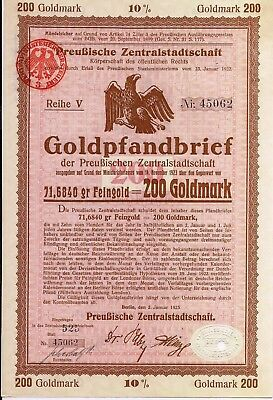 4 different. Vintage German Prussian Gold Mortgage bond dated 1925