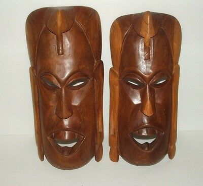 "Vintage Hand Carved Wooden Masks Wall Hangings Set of 2 - 13"" & 12"" in Height"