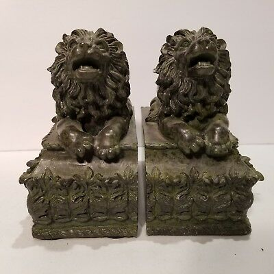 Vintage Heavy Ornate Resin Resting Lions Bookends