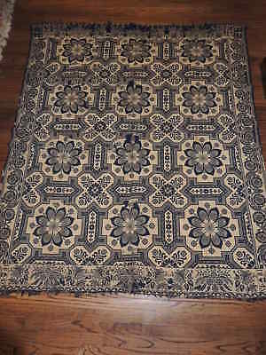 Antique 1847 Jacquard Hand Woven Coverlet / Cover / Spread