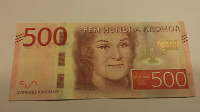 Sweden 500 Sek Kronor Bill Birgit Nelson World Money Bank Note Circulated