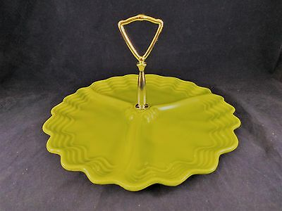 Vintage Maddux of California Pottery Divided Snack Tray Round Green 10.75""