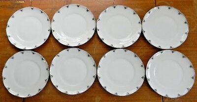 "Set 8 BLOCK Limoges Porcelain CHAMBORD 6.25"" BREAD PLATES France EXCELLENT!"