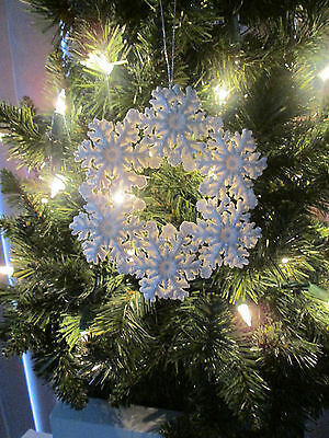 """5"""" White with Silver Glitter Snowflake Wreath Christmas Ornament, New"""