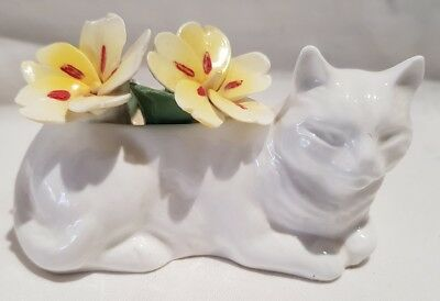 Vintage Crown Staffordshire Cat Posy Ornament Bone China c1930-56 As Is Chips