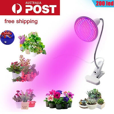 200LED Grow Light Hydroponic Garden Plant Desk 360° Flexible Clip Lamp AU Plug