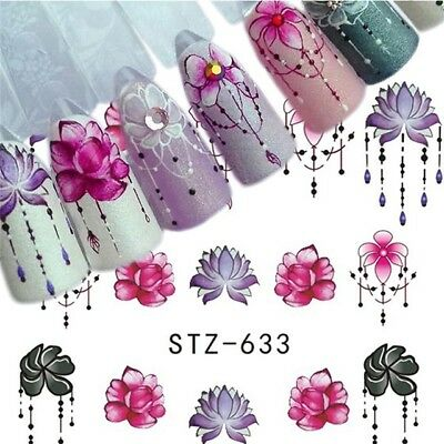 Nail Art Water Decals Stickers Transfers Spring Flowers Floral Petals Gems (633)