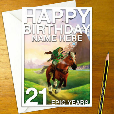 OCARINA OF TIME LINK Personalised Birthday Card