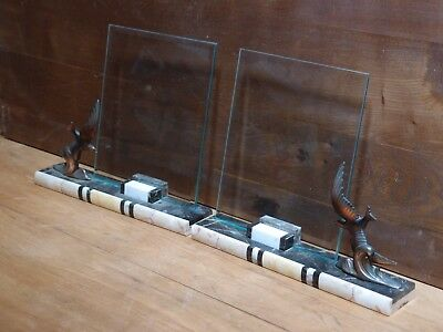 Pair Vintage French Art Deco Inlaid Marble And Bevelled Glass Photo Frames