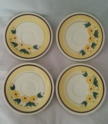 Glaze Hand Painted Brown Eyed Susan Vernon Ware. Set of 4 Saucers for mugs/cups
