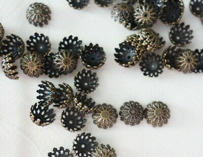 30 Filigree Bead Caps 12mmx6mm Antique Bronze Coloured #bc0050 Jewellery Making