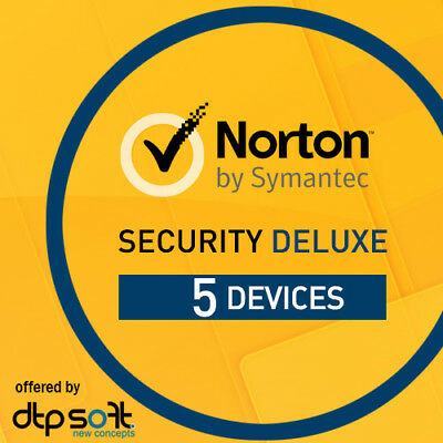 Norton Security Deluxe 2019 5 Devices 5 PC 2 Years / 24 months Internet 2018 UK