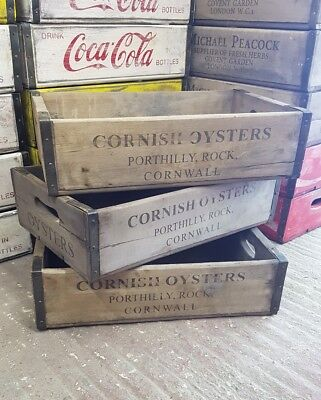 Cornish Oysters - Vintage Fruit Crate Wooden Kitchen Storage Box Tray Antique