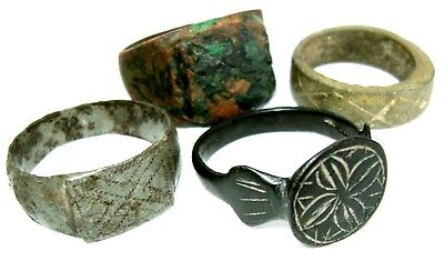 Ancient medieval lot of 4 bronze Rings.