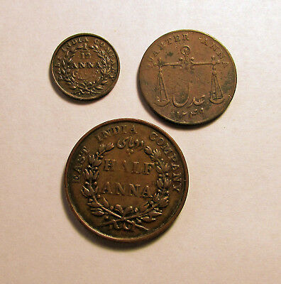 3 British India and East India Co. coins: 1833 and 1835 - 80 - 2