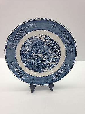 """Currier and Ives Vintage Royal China 10"""" DINNER PLATE Old Grist Mill Horse Buggy"""