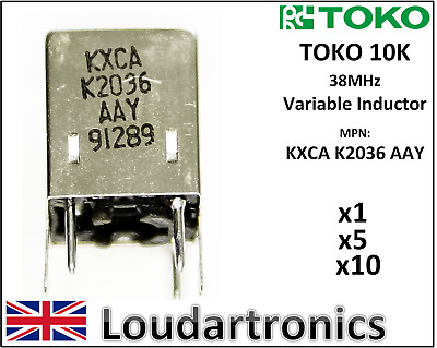 TOKO 10K KXCA K2036 AAY 38MHz 10mm Variable Inductor Coil Amateur Ham Radio