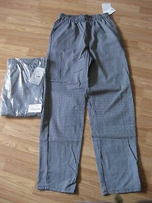 Lot of 2 NEW Size M Medium Five star Chef Apparel Pants Houndstooth White Swan