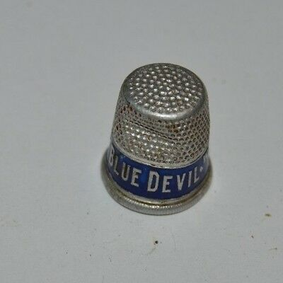 Vintage Blue Devil Water Softener Cleanser Metal Aluminum Sewing Thimble Rare