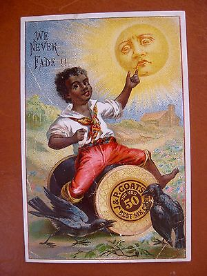 "Victorian Trade Card: Black Boy on J & P Coats Fast Black Spool -""We Never Fade"""