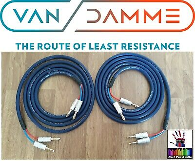 Van Damme Blue Series Studio 2x2.5mm Speaker Cable 2m pair - HQ banana plugs