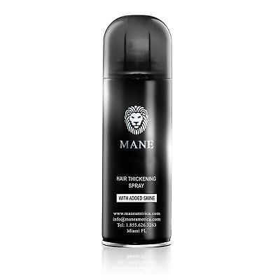 Mane Hair Thickening Spray Root Concealer, Added Shine, 200ml, Mid Brown, New