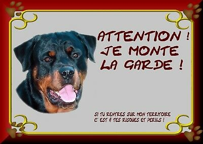 Pancarte Attention Chien Plastifiee Rottweileir 1