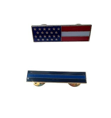 American US Flag Police Officer Thin Blue Line Citation Bar Enamel TBL Pin