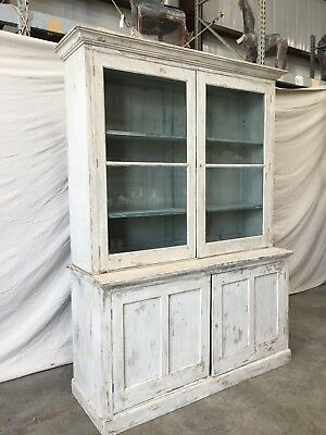 19th c. French Antique Painted Two Door Bookcase
