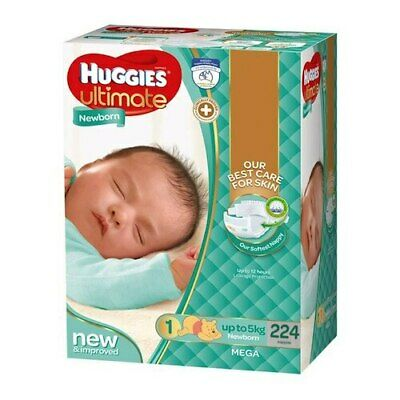 Huggies Ultimate Newborn Nappies No.1 Up to 5Kg 224 Pack