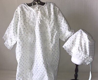 Vintage Handmade Infant Baby Toddler Nightgown Bonnet Jacket 3 Piece Set Doll