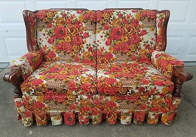 Vintage Floral 1970s  Loveseat Couch Furniture Funky HIppie Retro Red Wood