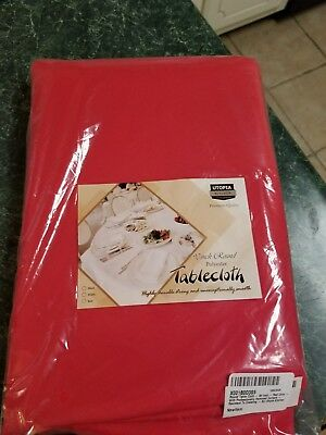 TABLECLOTH 90-INCH WHITE Round Professionally Hemmed Edges