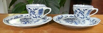 Pair Vintage BLUE DANUBE China SNACK SETS Plate & Cup Blue Onion Pattern Japan