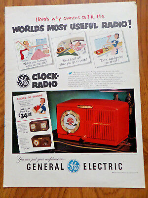 1951 GE General Electric Radios Clock Ad  World's Most Useful Radio