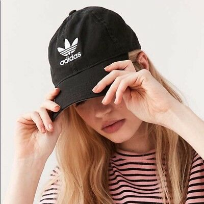0d45c19eab29e Women s Adidas Originals Trefoil Relaxed Strap Back Cap Dad Baseball Hat  Black