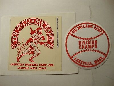 TED WILLIAMS  baseball camp  STICKER  and  PATCH 1960s MINT vintage RARE oddball
