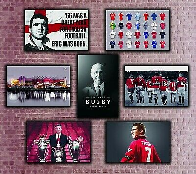 Manchester United - Old Trafford Cantona Ferguson Busby Wall Art Print Picture