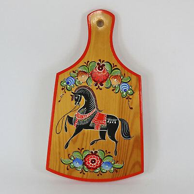 Vintage Russian Folk Art Hand Painting on Wood Gorodets Cutting Board