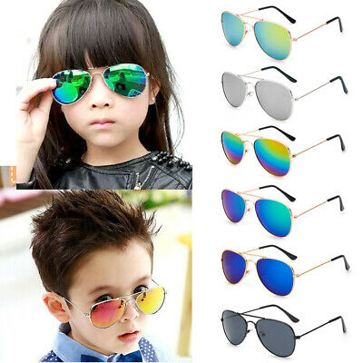 Kids Retro Mirrored Lens Metal Frame Aviator Sunglasses Glasses Fashion Eyewear