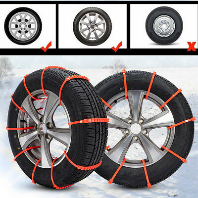 UK 10x Universal Anti Skid Car Truck Snow Chains TPU Tyre Tire Wheel Cable 90cm