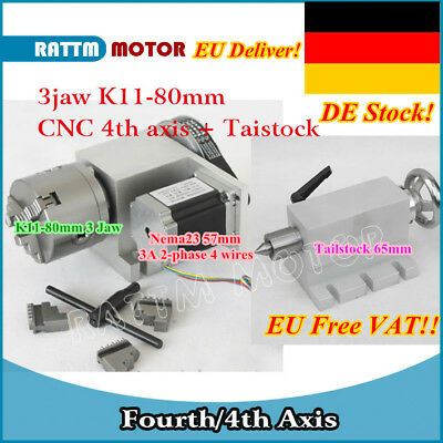 【EU】The 4th Axis K11-80mm 3 jaw chuck+Tailstock CNC dividing head/Rotation Axis