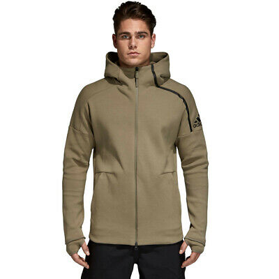 adidas Mens ZNE Hoody 2 Green Sports Gym Full Zip Hooded Breathable Pockets