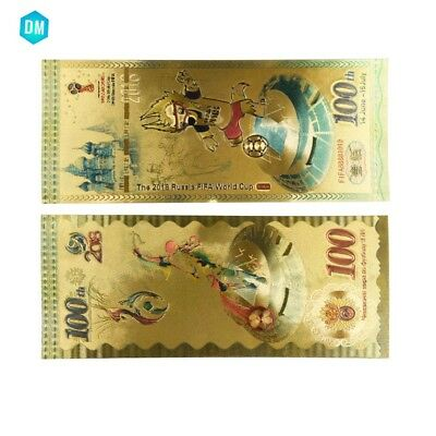 2018 Russian World Cup Colorful 100 Ruble Gold Banknote Bill Note Collections