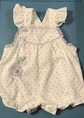 Vintage Baby Girl Sunsuit Romper Size 3-6 Months   White Floral Purple Trim