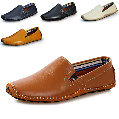 New Summer Mens Slip On Shoes Leather Drving Loafers Shoes Outdoor Casual Shoes
