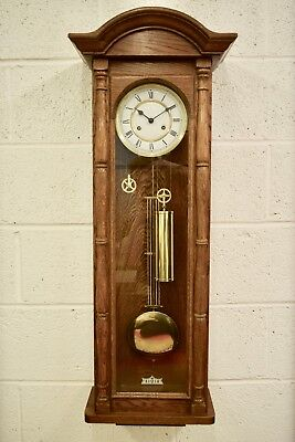 Vintage German Fhs Solid Oak Two Train Twin Weight Driven Vienna Wall Clock