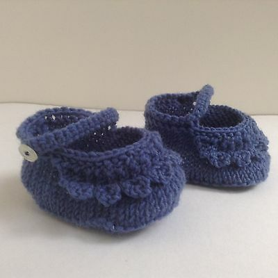 Booties pure wool Denim blue Frill Ankle strap Button Handknitted present gift